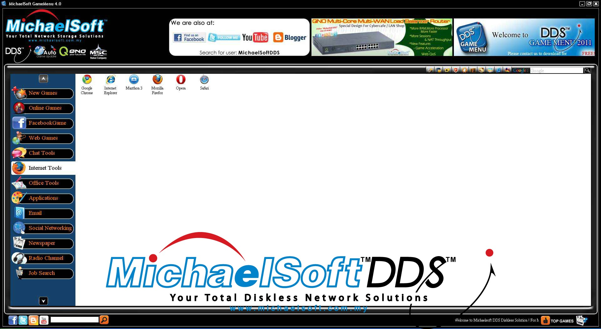 Michaelsoft DDS Diskless Solution , Cloud Computing , Diskless Cybercafe , Diskless System , Michaelsoft DDS Cybercafe Game Menu (Internet Tools)-With different browsers available for you to view and search information, entertainment and email over the internet.
