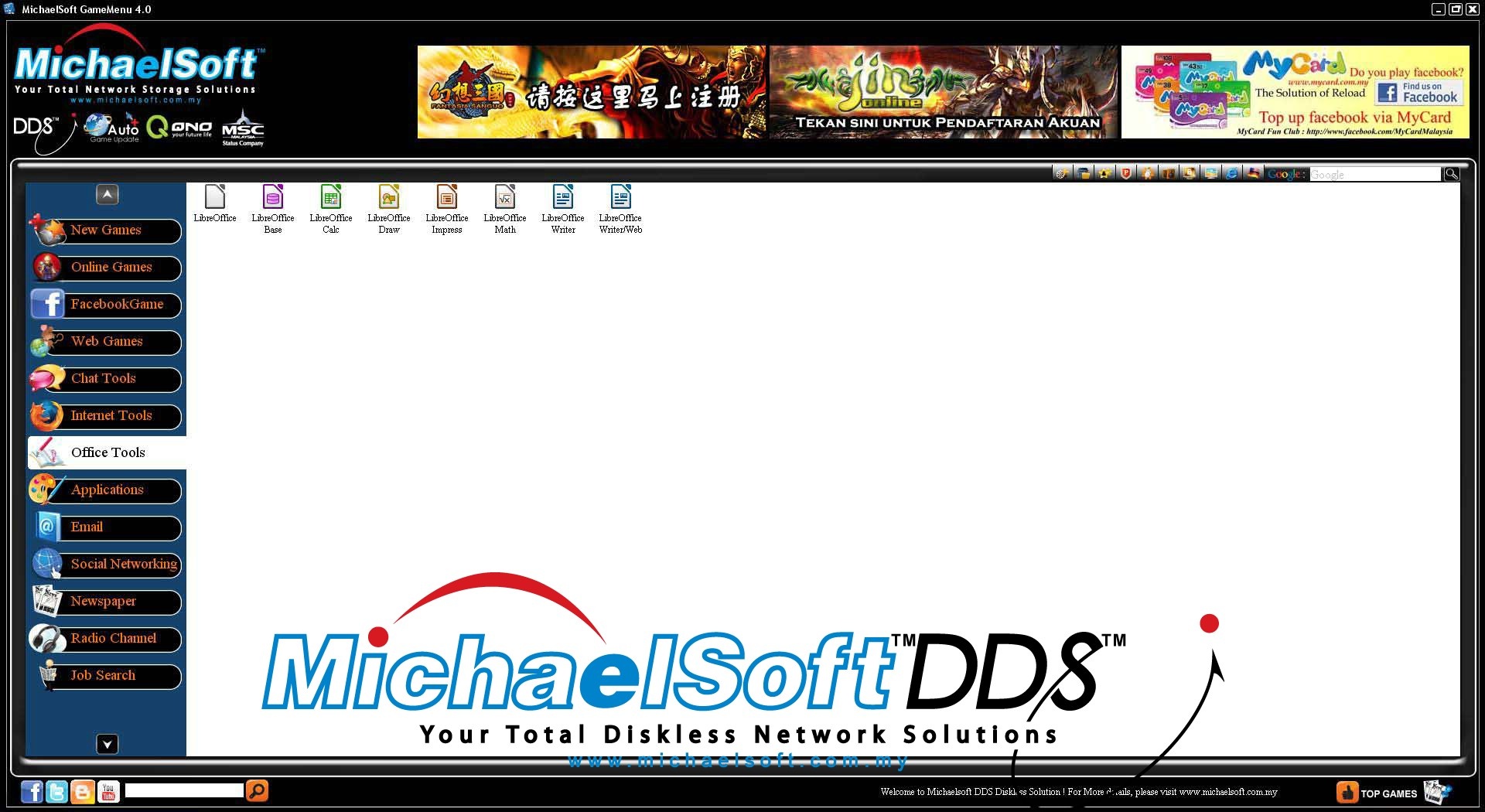 Michaelsoft DDS Diskless Solution , Cloud Computing , Diskless Cybercafe , Diskless System , Michaelsoft DDS Cybercafe Game Menu (Office Tools)-Open office can perform the basic functions as Microsoft Office. It is FREE~~